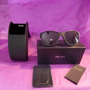 PRADA 58mm SQUARE SUNGLASSES MATTE BLACK NEW